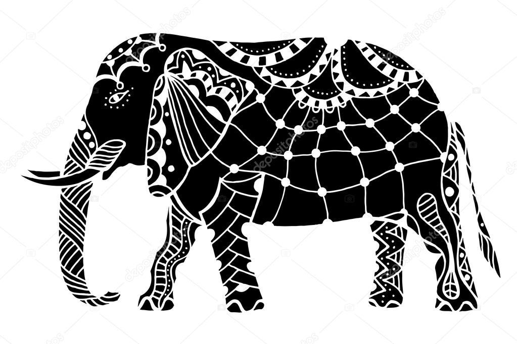 schwarzer indischer elefant — stockvektor © frescomovie