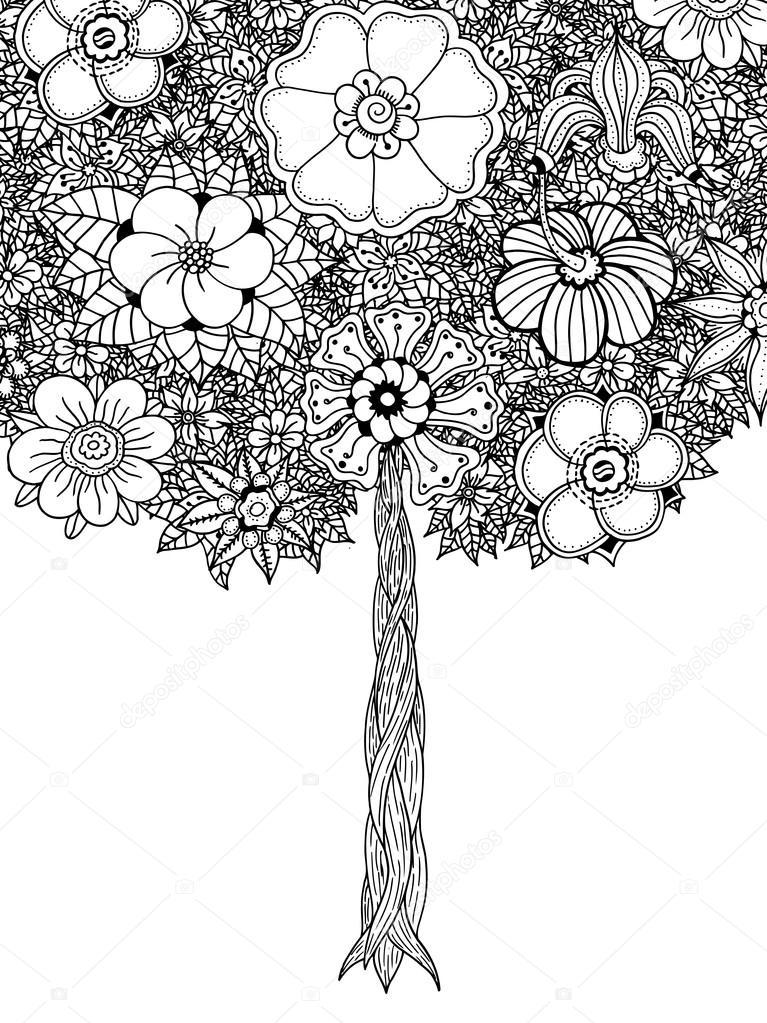 árbol con hojas — Vector de stock © frescomovie #99824876