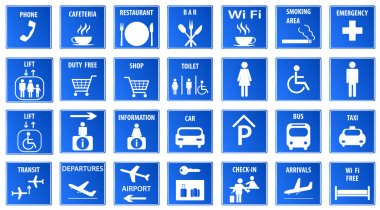 Airport Icons, vector .