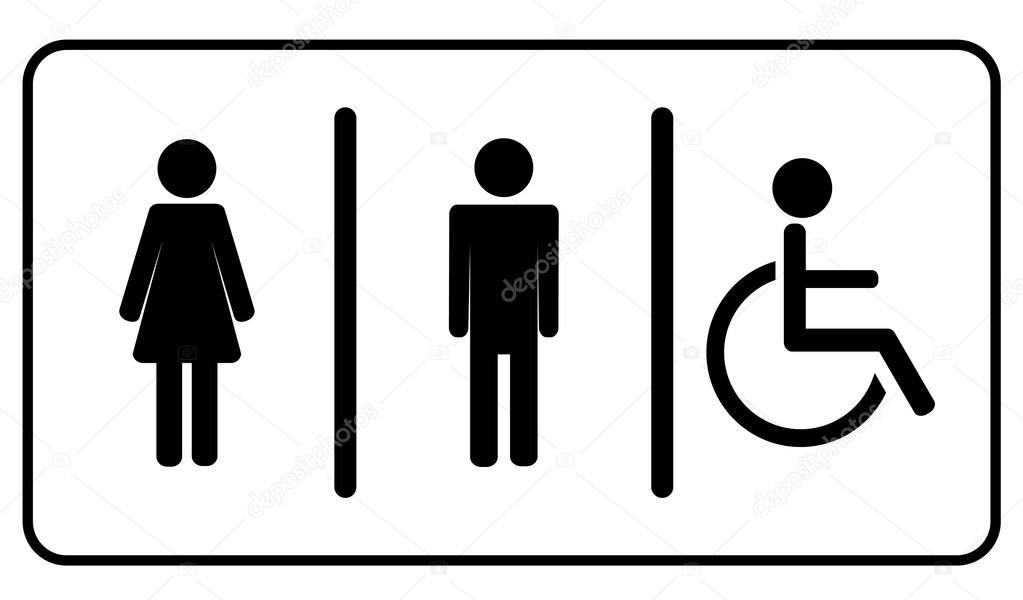 Homme Vector Femme Et Invalide Toilettes Symbole De La Toilette