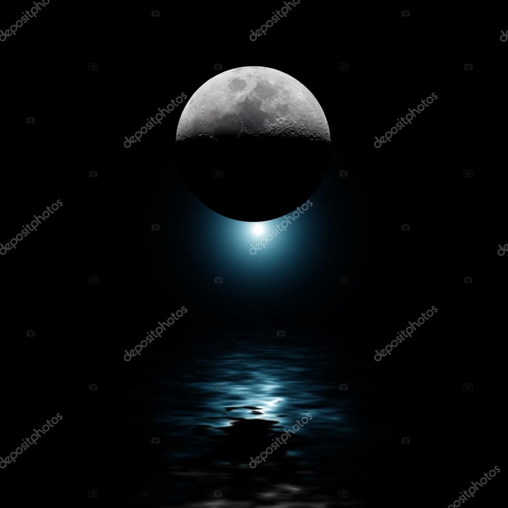 Backlit moon and blue star over water