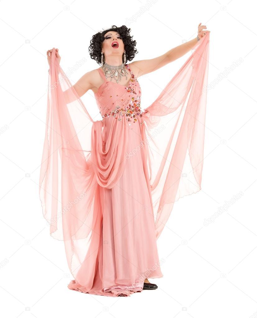 Retrato de Drag Queen en la ejecución de rosa Vestido de noche ...