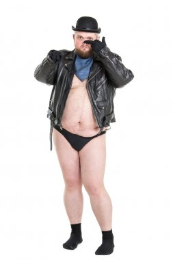 Funny Crazy Naked Fat Man in Panties with Suspenders Posing
