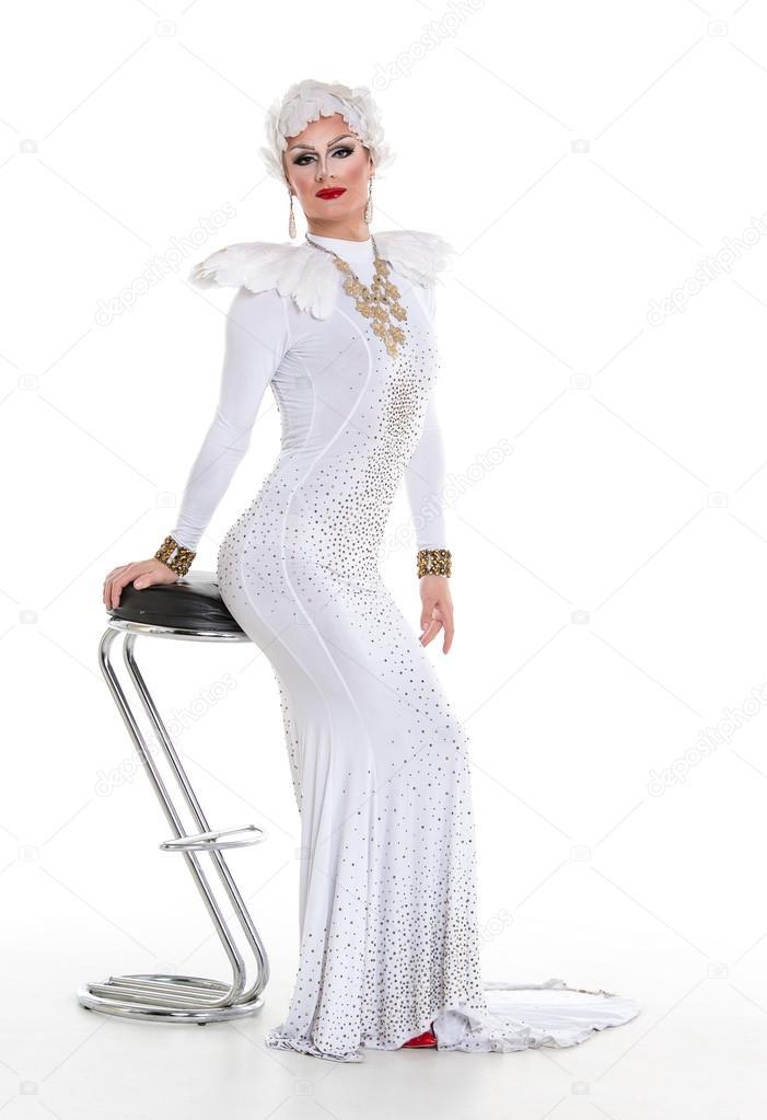 L'exercice — Dans Robe Blanche La Photographie Drag De Queen 35L4AjR