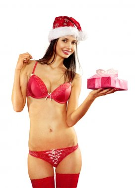 sexy woman with gift on white