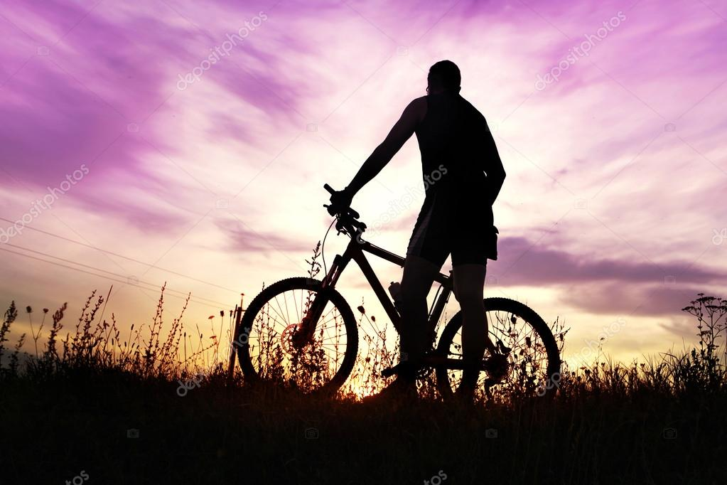 traveler at sunset time