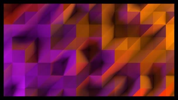 Abstraktní animace nízké poly trojúhelníků. 3D vykreslování videa. Červené, fialové, oranžové a modré osvětlení.