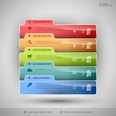 Modern business tabs for infographics