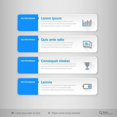 Vector tabs as design elements for business layouts.
