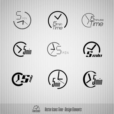5 minutes vector icons