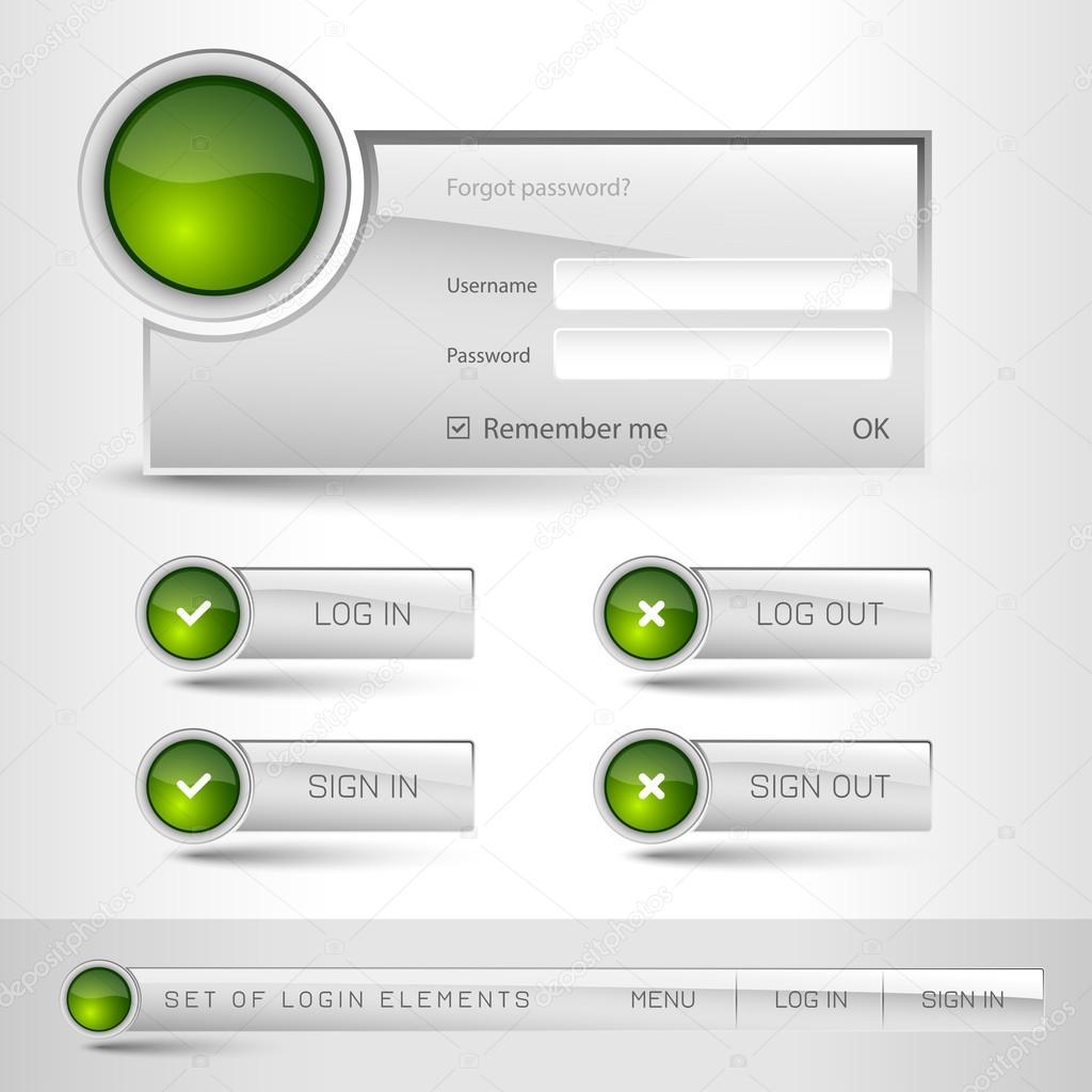 Anmeldung-Vorlage für Websites-Vektor-Design-Elemente — Stockvektor ...
