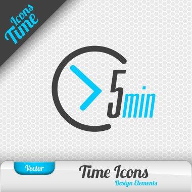 Time Icon 5 Minutes Symbol Vector Design Elements