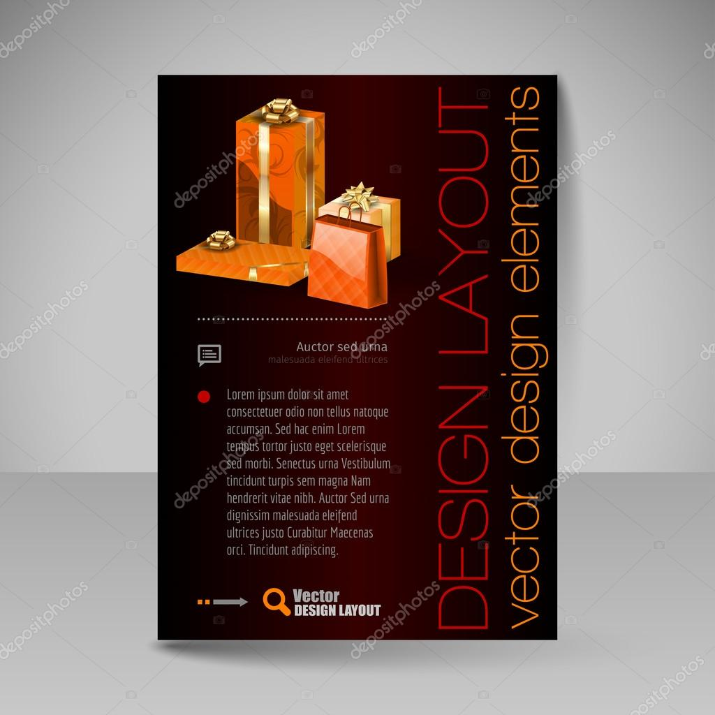 Vector Brochure Design Template with orange Christmas Gifts. — Stock ...