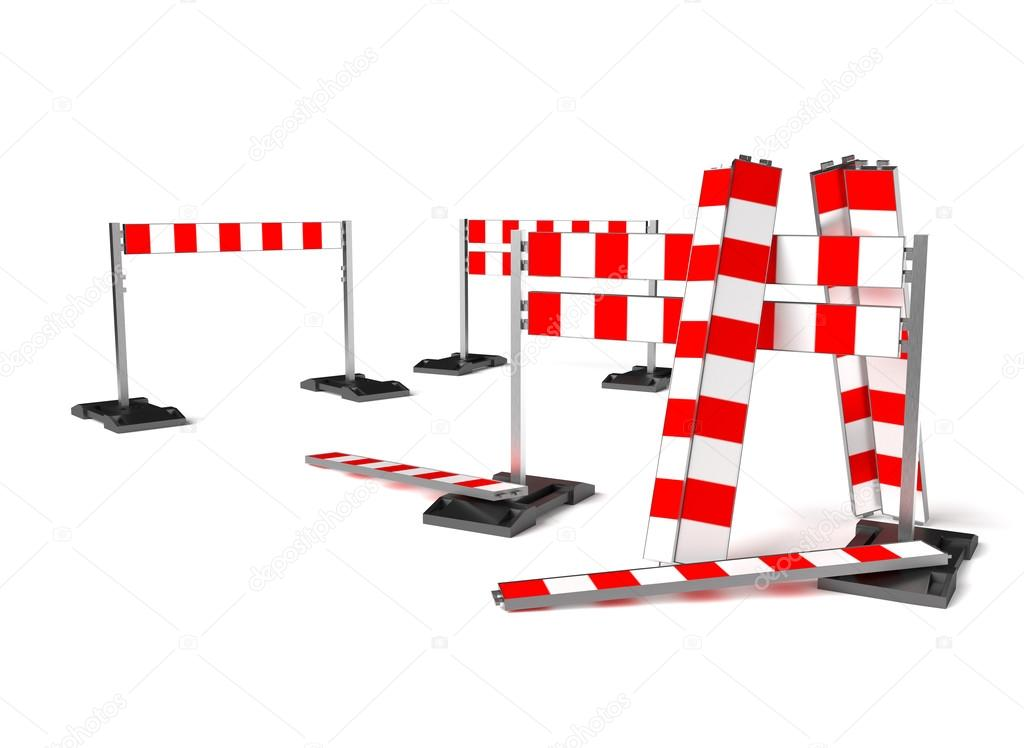 Traffic Construction Symbol Mobile Barricade Isolated On White