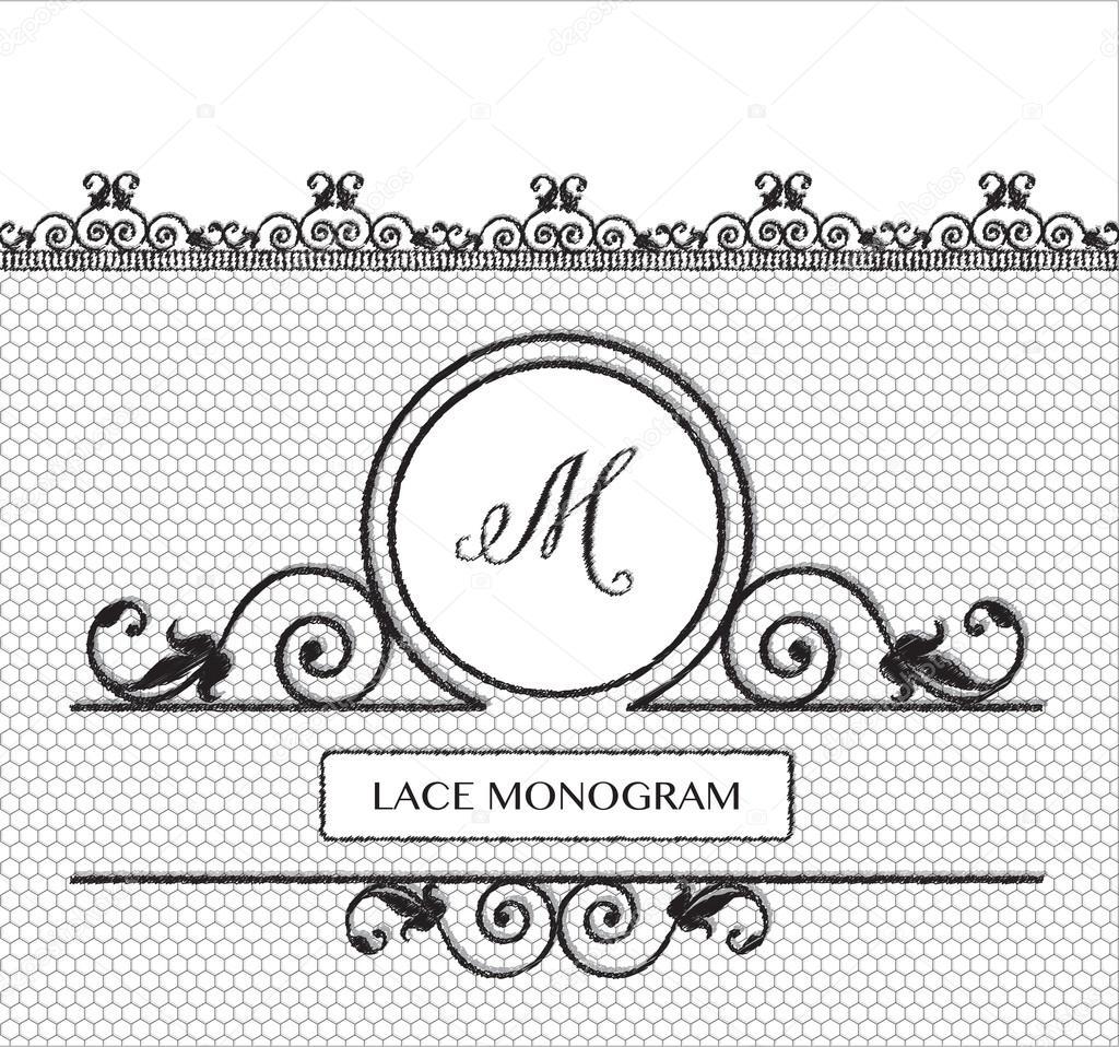 Letter M Black Lace Monogram Stock Vector C Rixipix 86251850