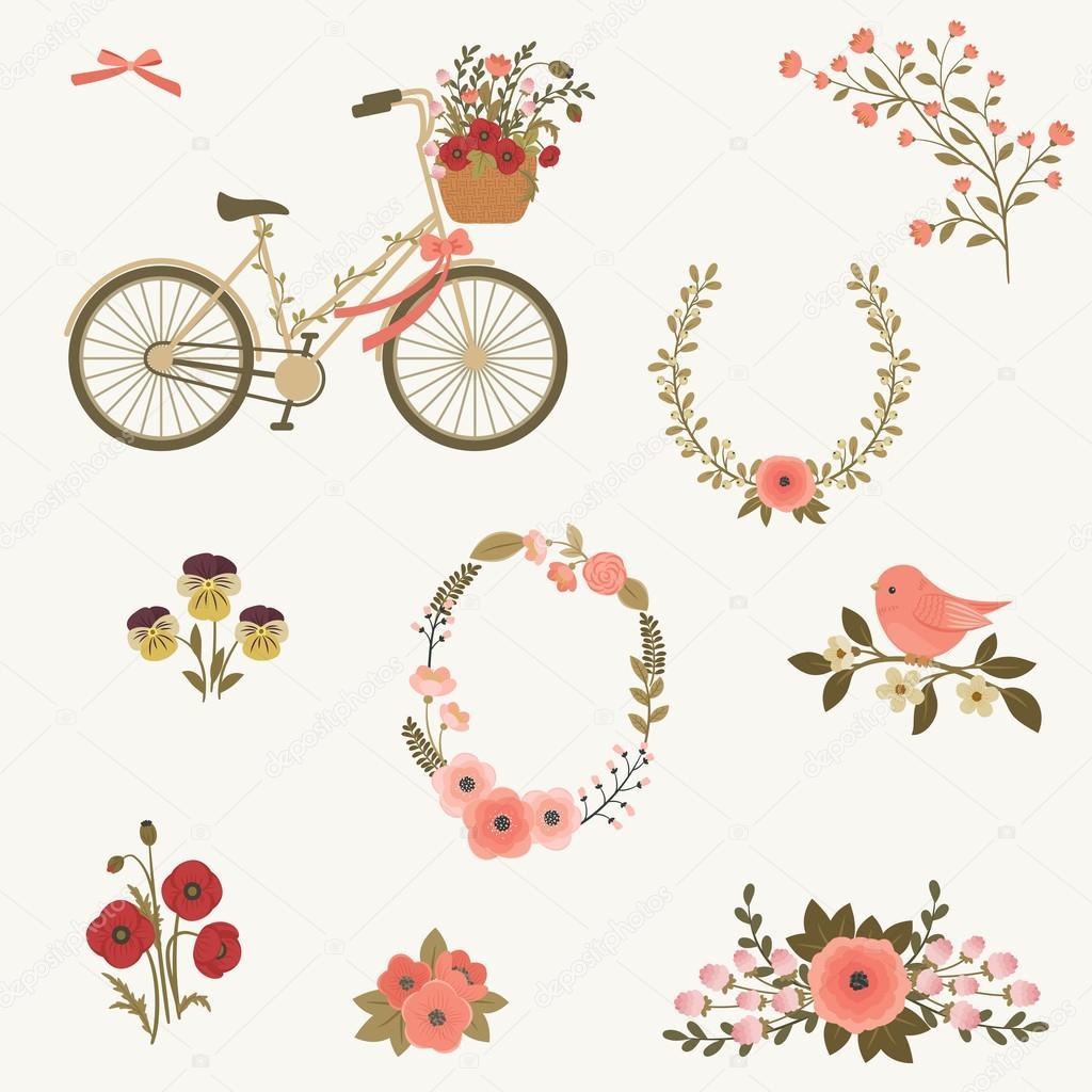 Schönen Frühling Blumen Clipart Stockvektor Natalie Art 108759892