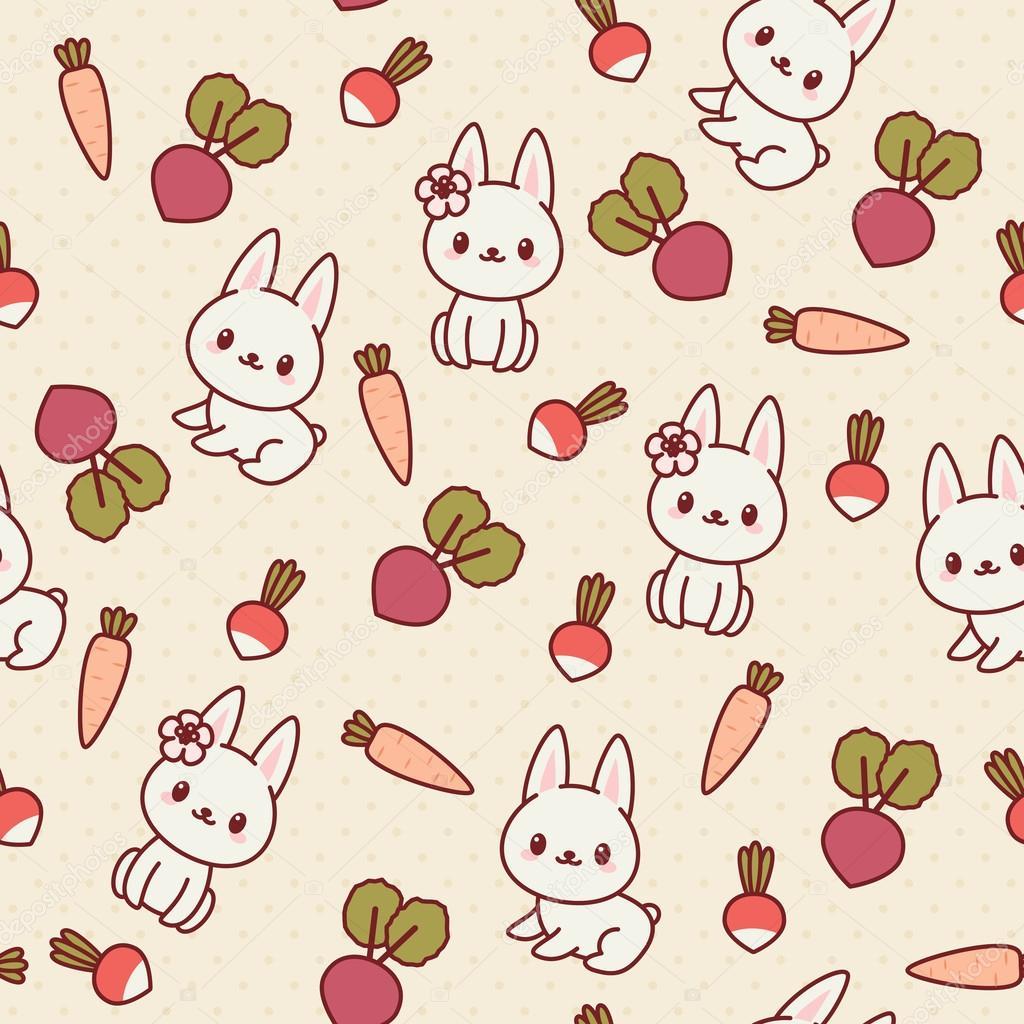 Kawaii de patrones sin fisuras con los conejos y verduras — Vector ...