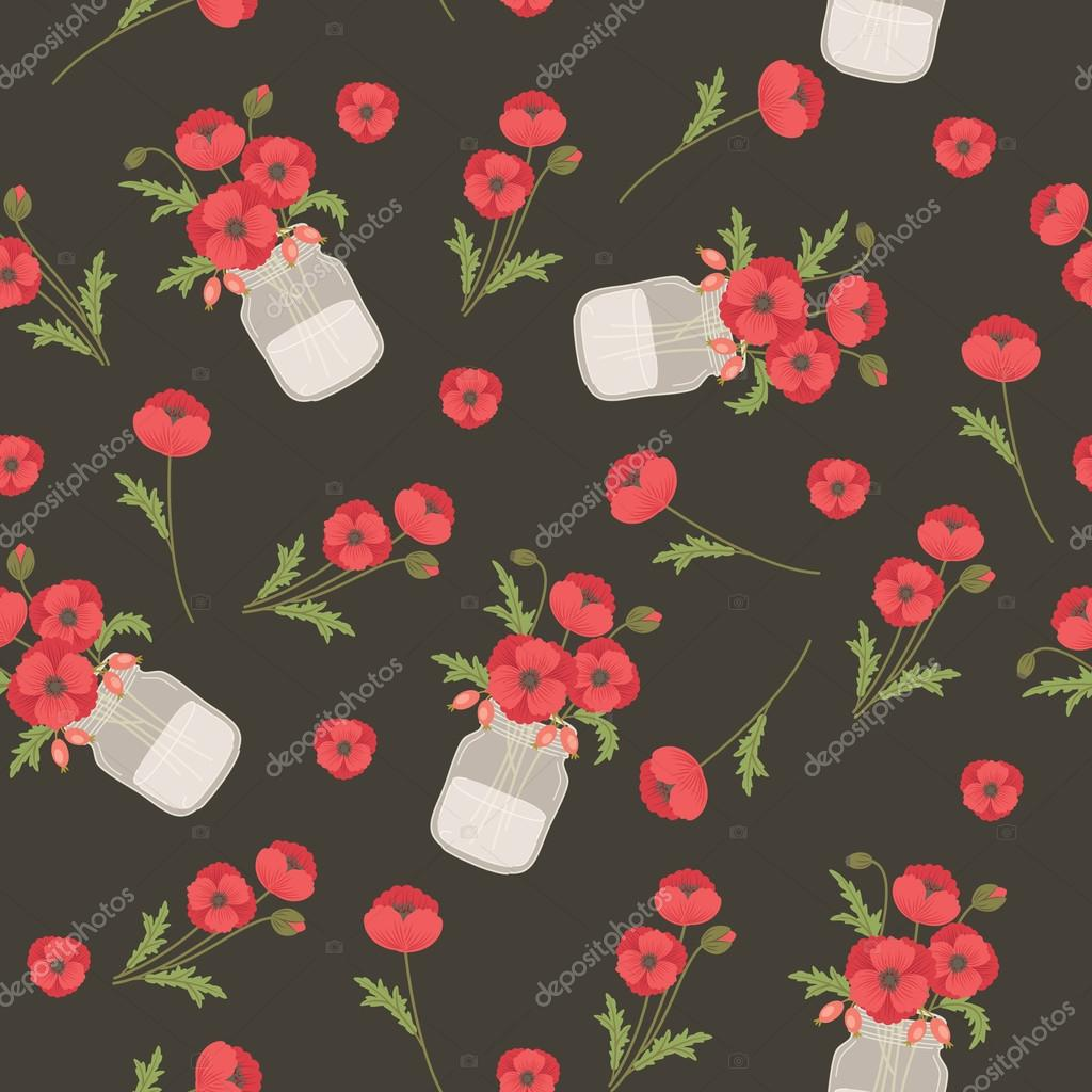 Poppy flowers in mason jars seamless vector pattern stock vector poppy flowers in mason jars seamless vector pattern stock vector mightylinksfo