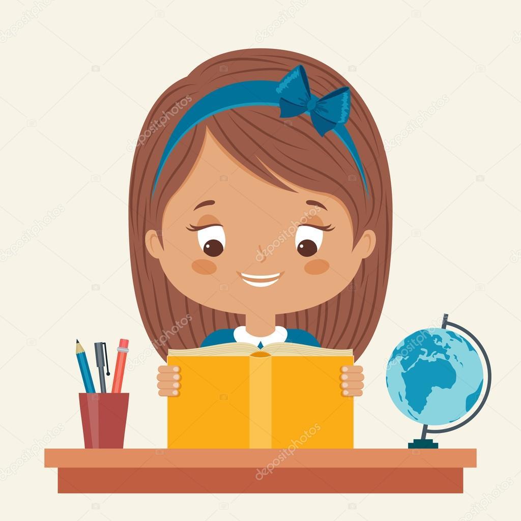 Dibujos Niña Estudiando Niña Estudiando Vector De Stock