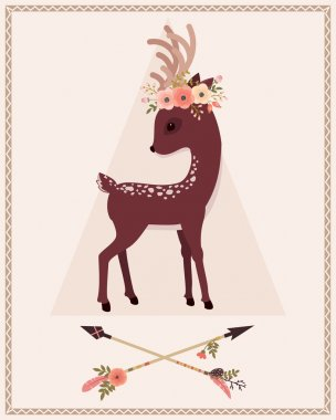 Elegant deer with floral wreath on a head and crossed arrows. Vector cartoon illustration. stock vector