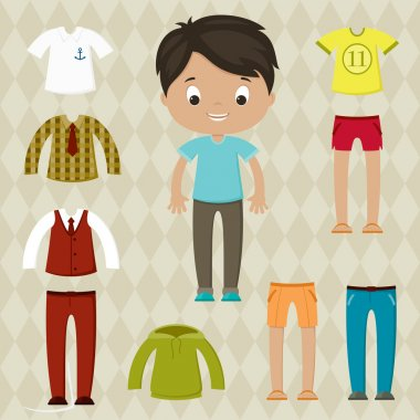 Dress up game. Boy paper doll. Clothes set.