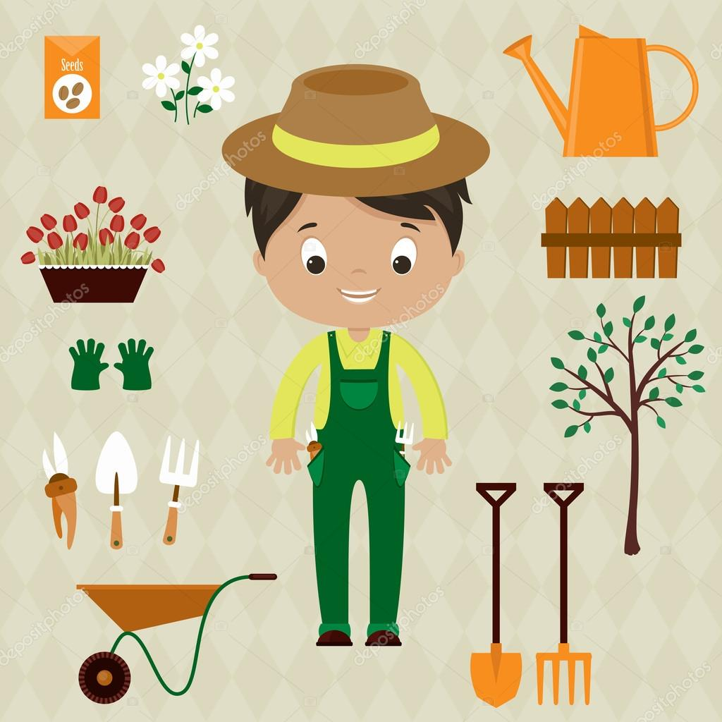 Gardener man with garden tools