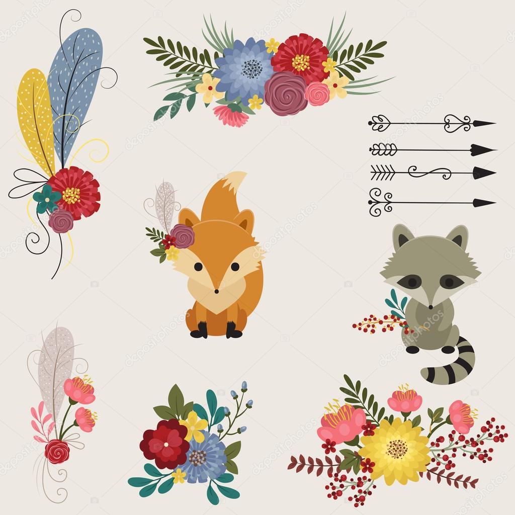 花と動物のアイコン、仕切りと矢印 — ストックベクター © natalie-art