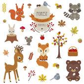 Animali del bosco nel tempo di autunno
