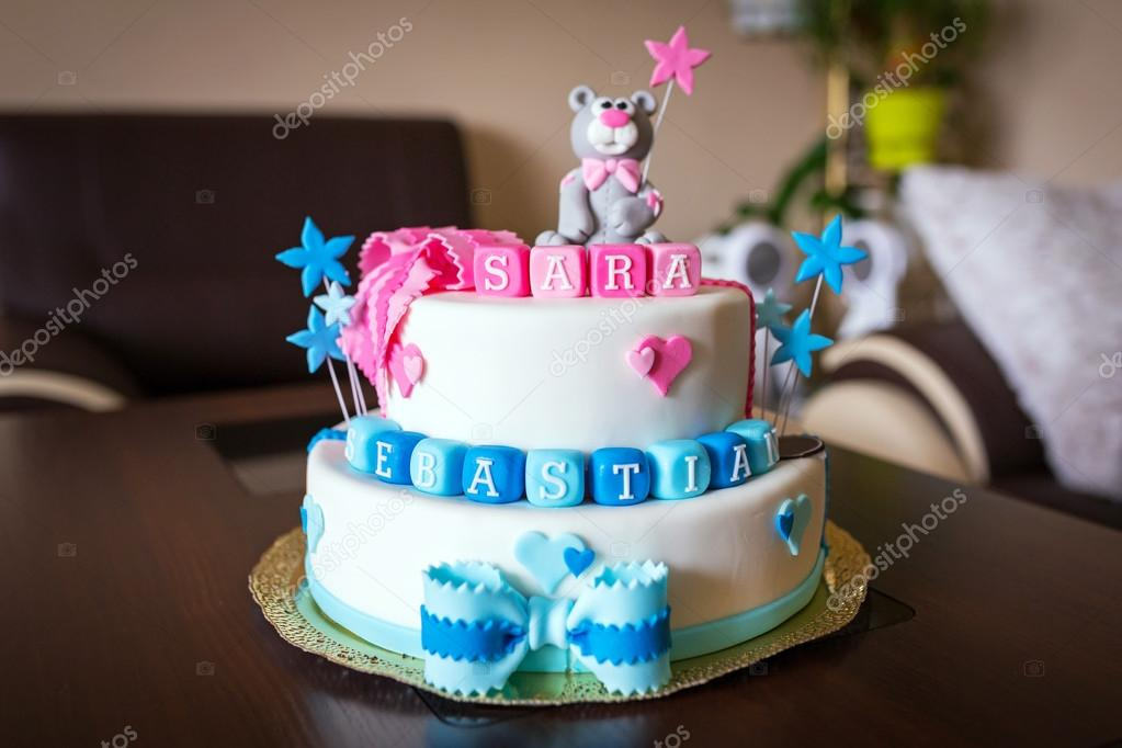 Birthday cake for baby boy and girl Stock Photo PatrykKosmider