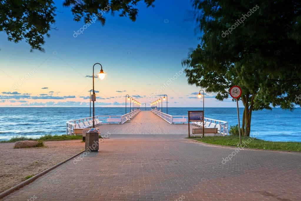 Wooden pier in Gdynia Orlowo at sunrise