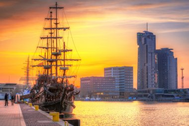 Sunset in Gdynia city at Baltic sea