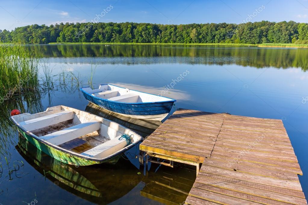 Fishing boats on the masurian lake