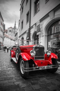 Historic Praga car on the street of Prague