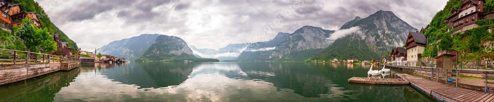 Panorama of Hallstatter lake in Alps