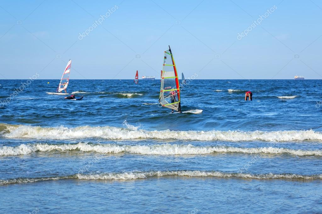 Windsurfing on Baltic sea in Sopot