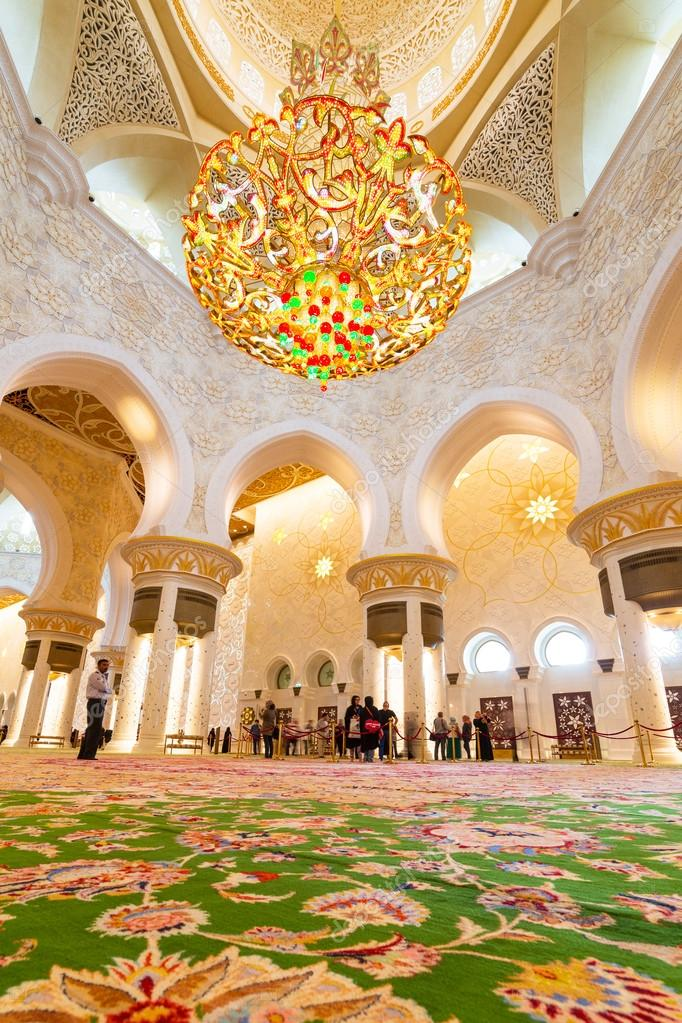 Interior of Sheikh Zayed Grand Mosque in Abu Dhabi