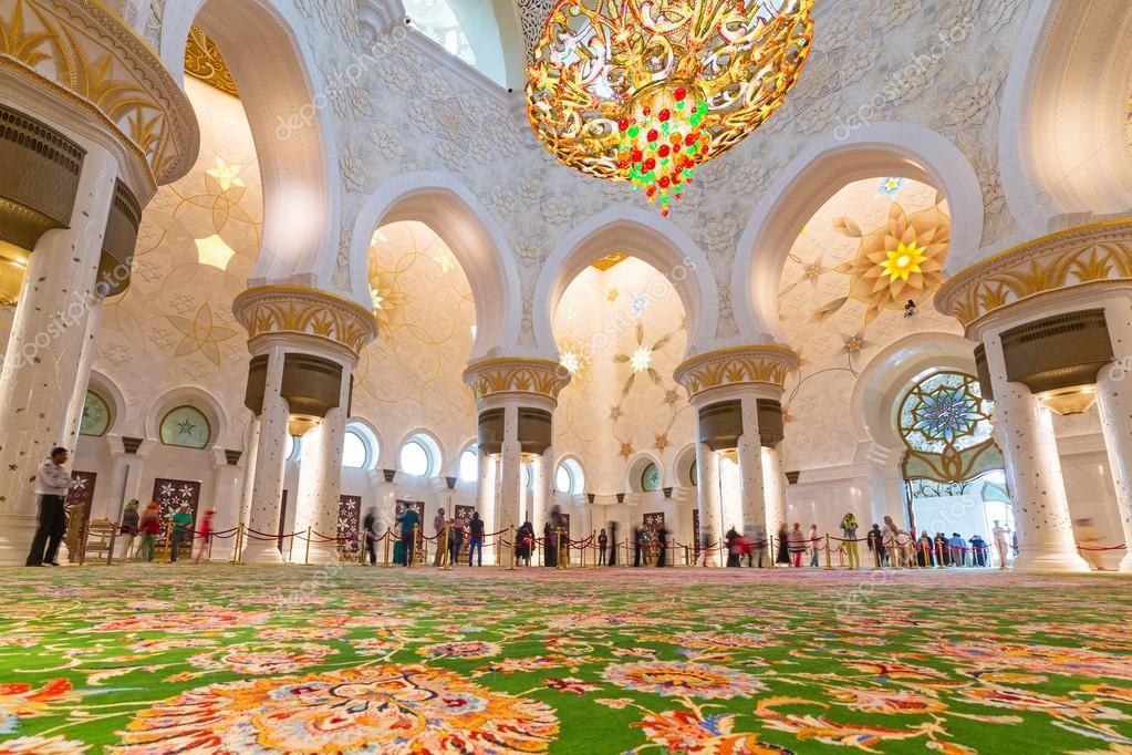 interieur van sjeik zayed grote moskee in abu dhabi – Redactionele ...