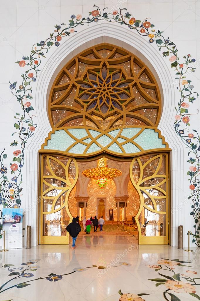 Interior Of Sheikh Zayed Grand Mosque In Abu Dhabi Stock