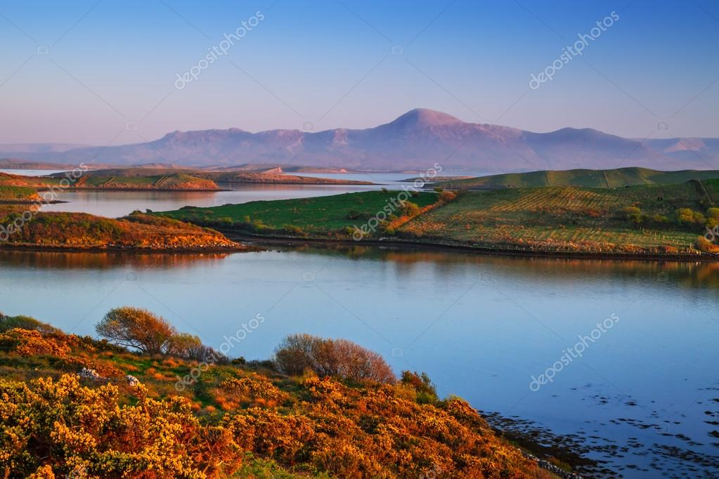 Mulranny bay at sunset in Ireland