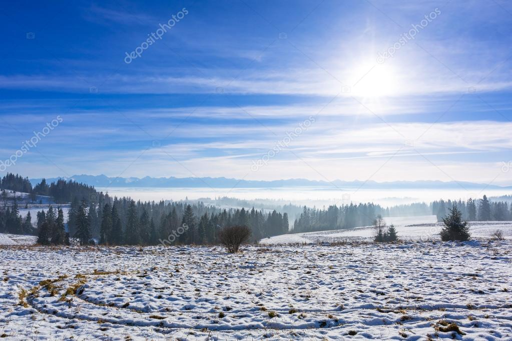 Panorama of Tatra mountains at winter time, Poland