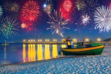 New Years firework display at Baltic Sea