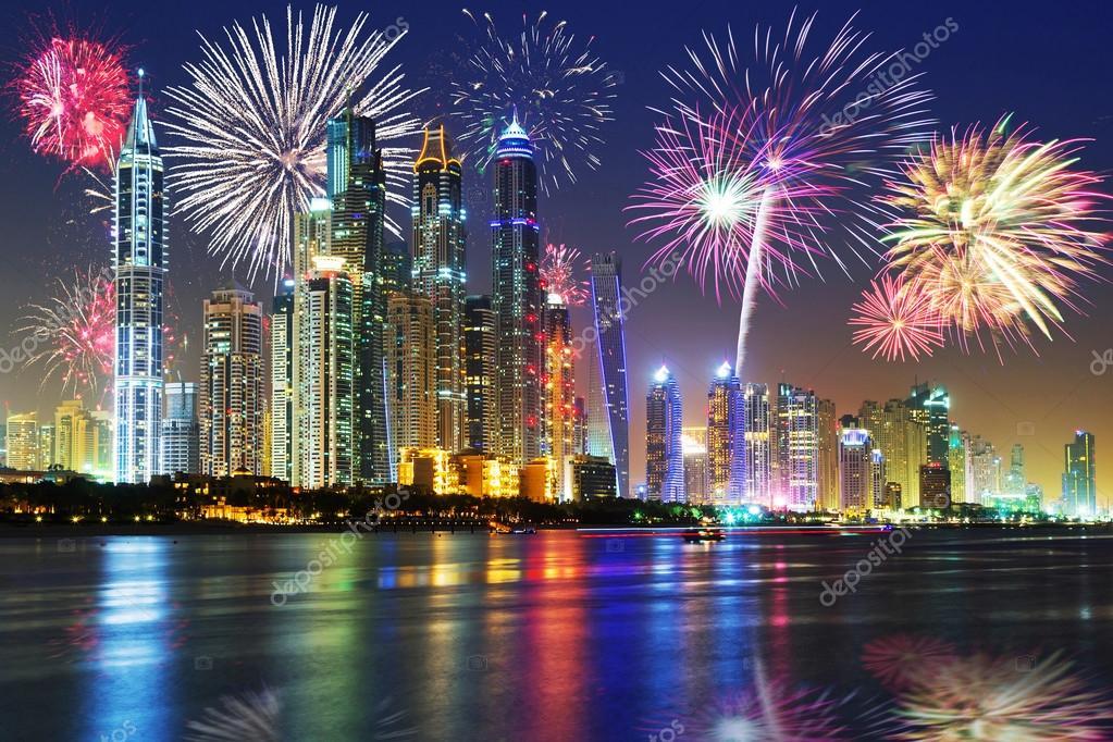 New Years fireworks display in Dubai