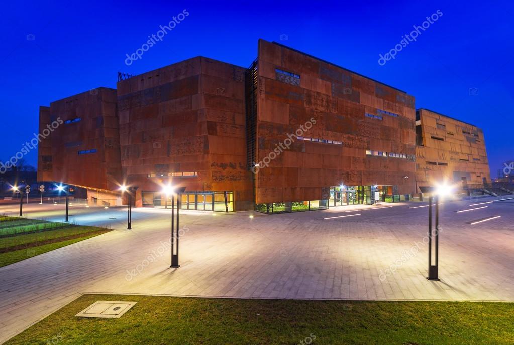 Rusty steel building of European Solidarity Museum in Gdansk