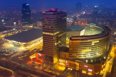 Zlote Tarasy complex in the city center of Warsaw at night