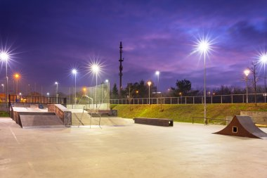 Skate park in Gdansk at dusk
