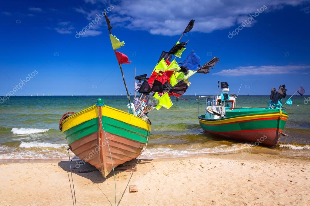 Fishing boats on the beach of Baltic Sea