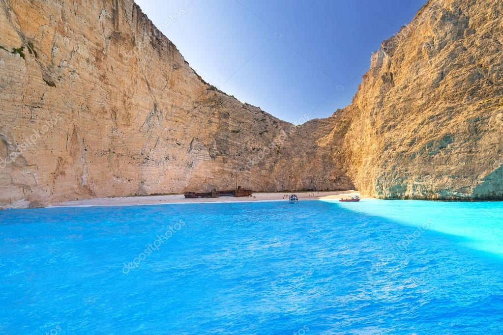 Blue lagoon of Navagio Beach on Zakynthos island