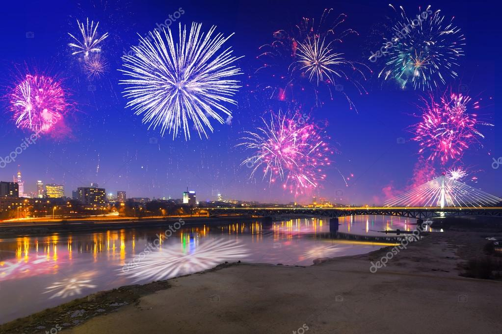 New Year fireworks display in Warsaw