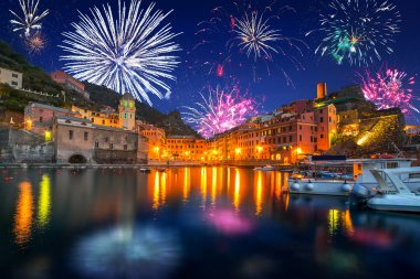 New Years firework display in Vernazza town