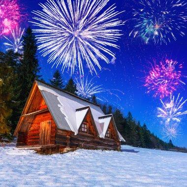 New Years firework display in Tatra mountains